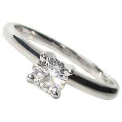 Platinum .37 Carat Round Solitaire Ring