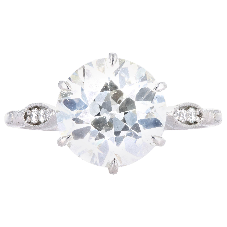Platinum 3.75 Carat Old European Cut Diamond Engagement Ring
