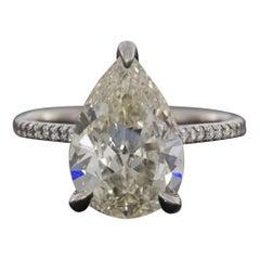 Platinum 3.94 Carat Pear Diamond Solitaire Engagement Ring