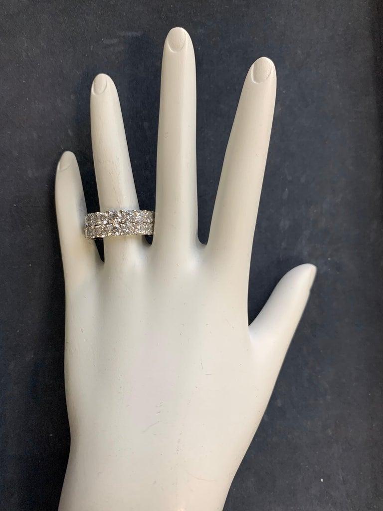 Modern Platinum 4 Carat Round Brilliant Natural VS Diamond Eternity Engagement Band For Sale