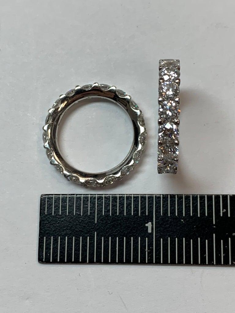 Round Cut Platinum 4 Carat Round Brilliant Natural VS Diamond Eternity Engagement Band For Sale