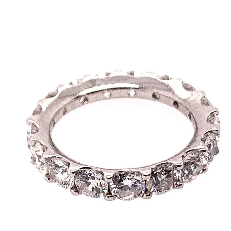 Women's Platinum 4 Carat Round Brilliant Natural VS Diamond Eternity Engagement Band For Sale