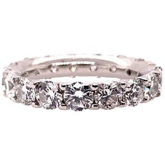Platinum 4 Carat Round Brilliant Natural VS Diamond Eternity Engagement Band
