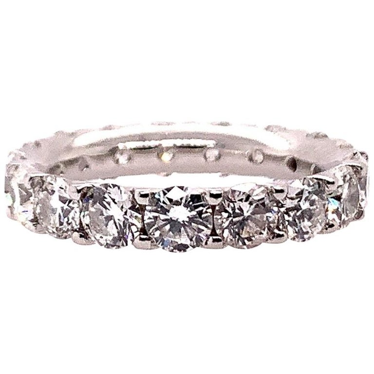 Platinum 4 Carat Round Brilliant Natural VS Diamond Eternity Engagement Band For Sale