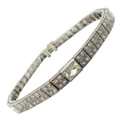 Platinum 4.00 Carat Art Deco Style Diamond Tennis Statement Fashion Bracelet