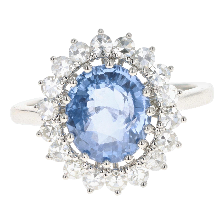 Platinum 4.07 Carat No Heat Natural Ceylon Sapphire and Diamond Halo Ring