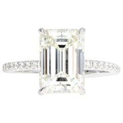 Platinum 4.09 Carat Emerald Cut Diamond French Halo Engagement Ring