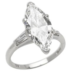 Platinum 4.18 Carat Certified Marquise Cut Diamond Engagement Ring