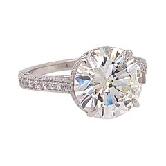 Platinum 4.21 Carat Natural Round Brilliant GIA Certified F VS2 Engagement Ring