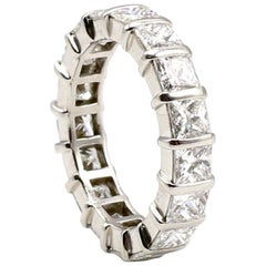 Platinum 4.25 Carat Square Princess Cut Diamond Eternity Band Ring