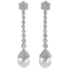Platinum 4.27 Carat Diamond and Pearl Earrings
