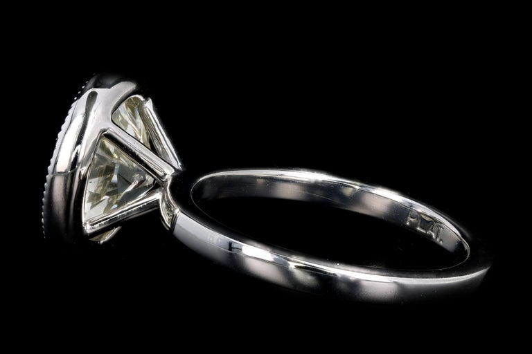 Old European Cut Platinum 4.52 Carat Old European Diamond Bezel Engagement Ring For Sale