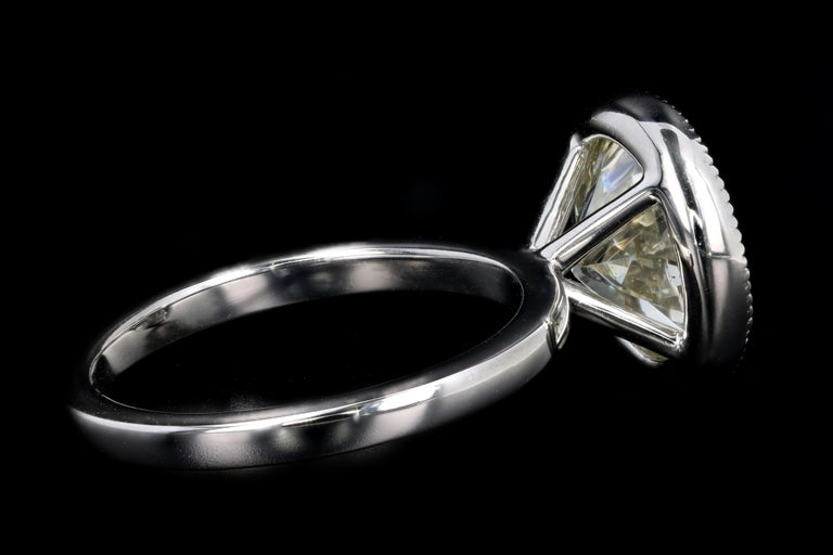 Platinum 4.52 Carat Old European Diamond Bezel Engagement Ring In New Condition For Sale In Cape May, NJ