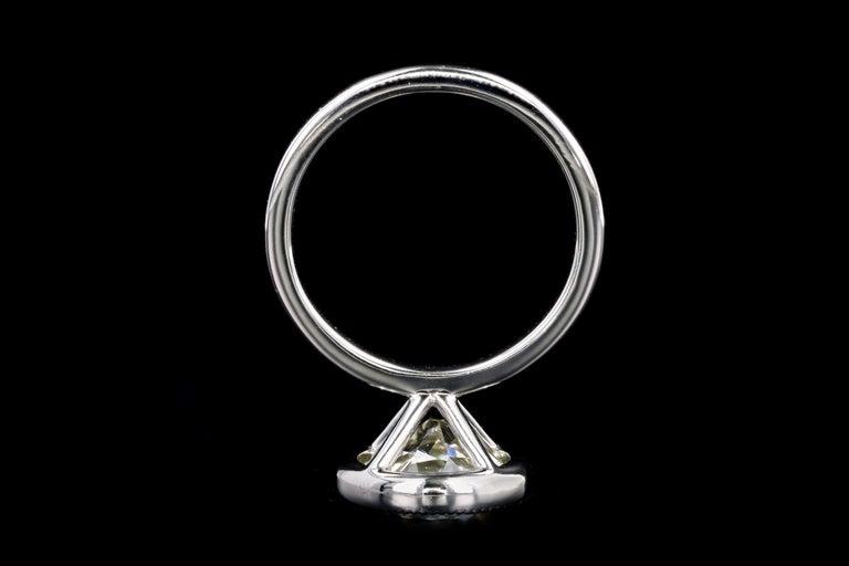 Platinum 4.52 Carat Old European Diamond Bezel Engagement Ring For Sale 1