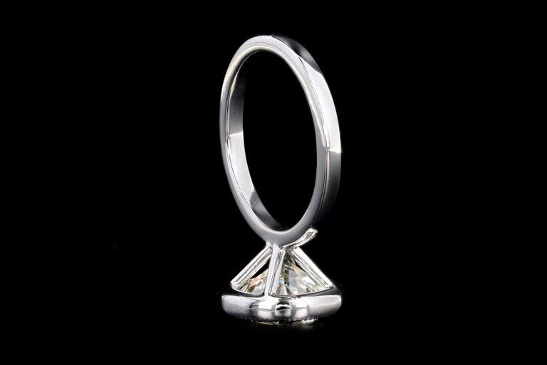 Platinum 4.52 Carat Old European Diamond Bezel Engagement Ring For Sale 2