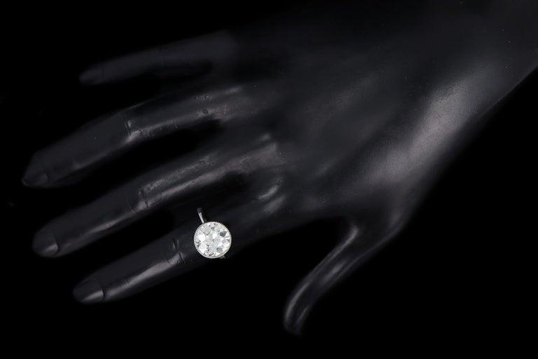 Platinum 4.52 Carat Old European Diamond Bezel Engagement Ring For Sale 3