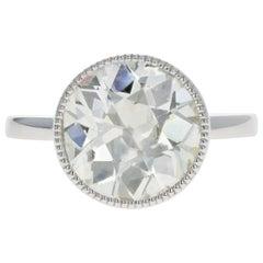 Platinum 4.52 Carat Old European Diamond Bezel Engagement Ring