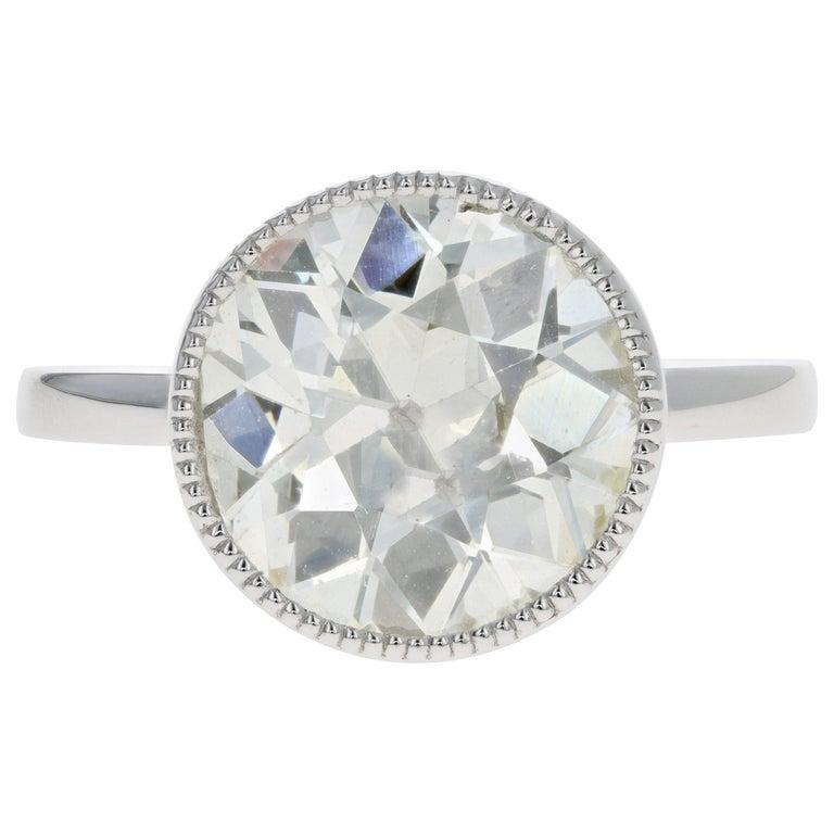 Platinum 4.52 Carat Old European Diamond Bezel Engagement Ring For Sale