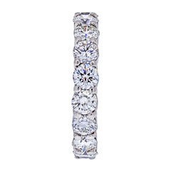 Platinum 4.75 Carat Round Diamond Shared Prong Eternity Band