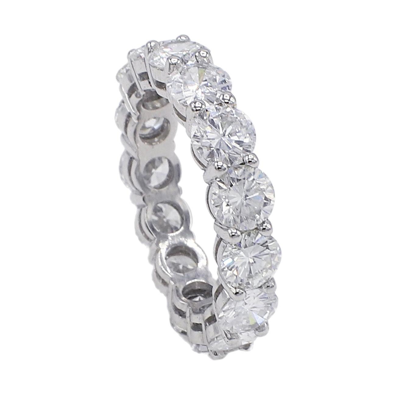 Platinum 4.89 Carat Round Diamond Eternity Band Ring