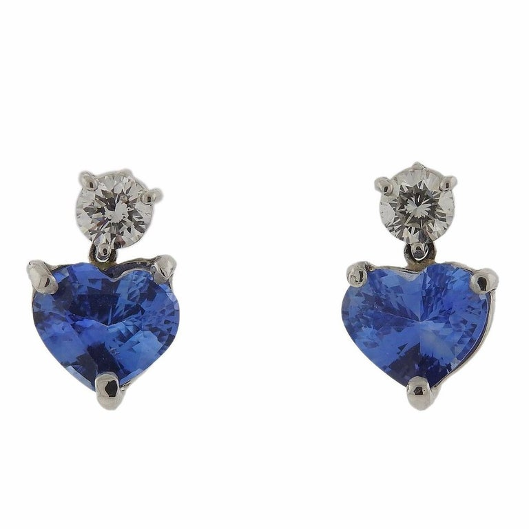 Platinum 4 90 Carat Cornflower Blue Shire Diamond Heart Earrings For