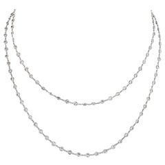 Platinum 5 Carat Round Cut Diamonds by the Yard Necklace