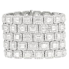 Platinum 5-Row Diamond Emerald Cut Diamond Bracelet