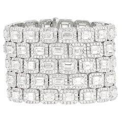 Platinum 5-Row Diamond Emerald Cut Diamond Bracelet