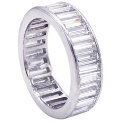 Platinum 5.00 Carat Baguette Diamond Eternity Band Ring