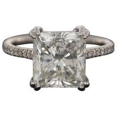 Platinum 5.31 Carat Certified Radiant Diamond Custom Engagement Ring