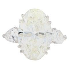 Platinum 5.46 Carat Oval Cut Diamond Engagement Ring
