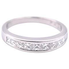 Platinum .55 Carat Princess Cut Diamond Band