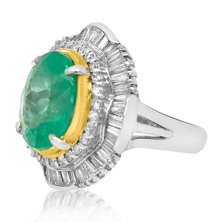 Oval Cut Platinum 5.5 Carat Emerald and Diamond Ring For Sale