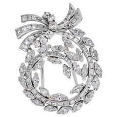 Platinum 5.50 Carat Baguette, Marquise, Round Diamond Brooch