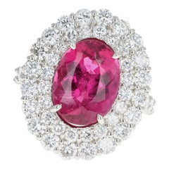 Platinum 5.56 Carat Oval Cut Rubellite Tourmaline and Diamond Ring