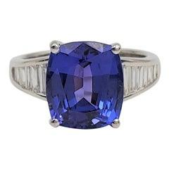 Platinum 5.68 Carat Violet-Blue Tanzanite and Diamond Ring