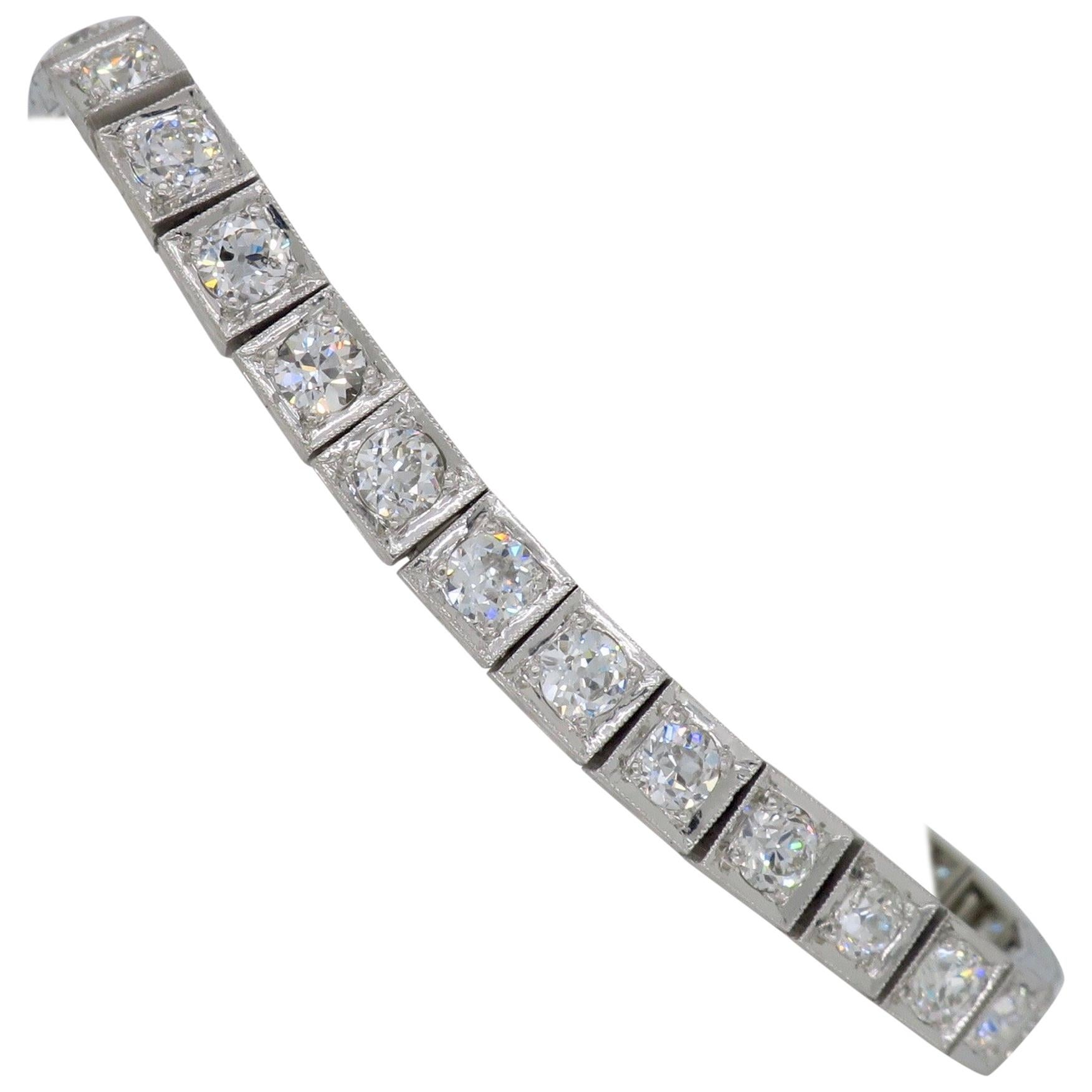 Platinum 5.85 Carat Old European Cut Diamond Tennis Bracelet