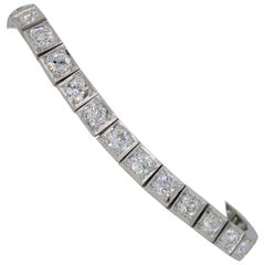 Platinum 5.85 Carat Old European Cut Diamond Tennis Bracelet