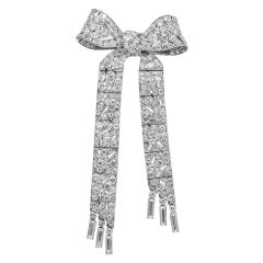 Platinum 6 Carat Diamond Art Deco Bow Pin