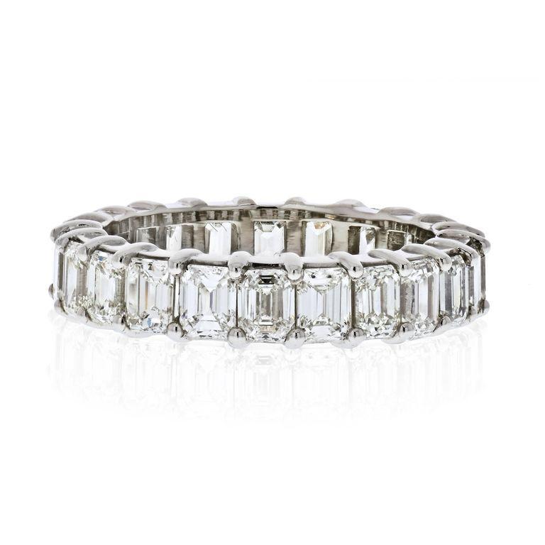 Modern Platinum 6 Carat Emerald Cut Diamond Eternity Band For Sale