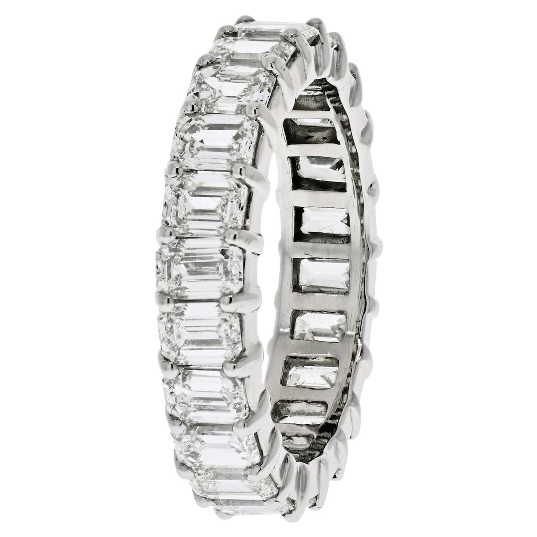 Platinum 6 Carat Emerald Cut Diamond Eternity Band