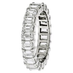 Platinum 6 Carat Emerald Cut Diamond Eternity Band
