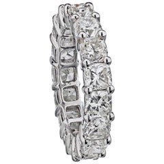 Platinum 6.00 Carat Cushion Cuts Diamond Eternity Band