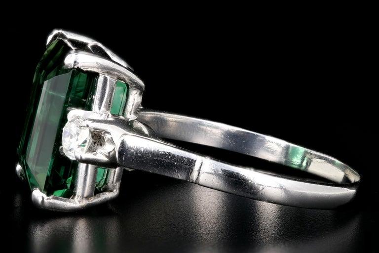 Contemporary Platinum 6.35 Carat Green Tourmaline and Diamond Ring