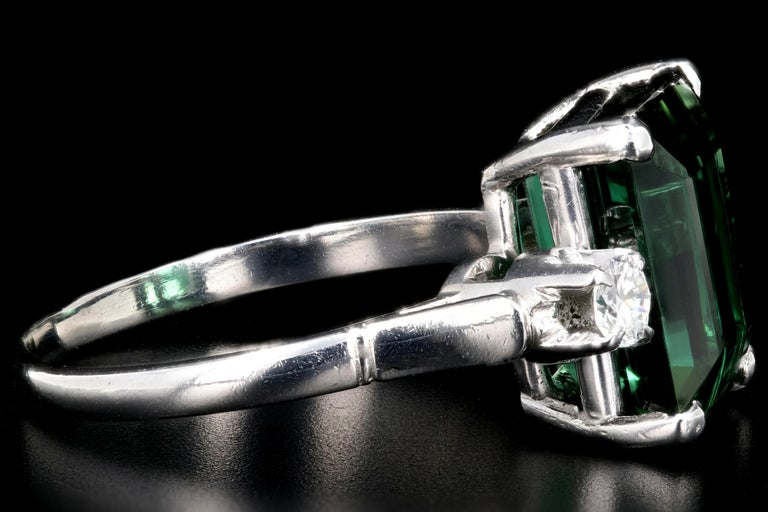 Platinum 6.35 Carat Green Tourmaline and Diamond Ring In Excellent Condition In Cape May, NJ