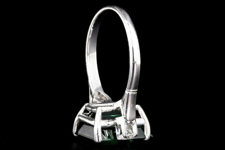 Platinum 6.35 Carat Green Tourmaline and Diamond Ring 2