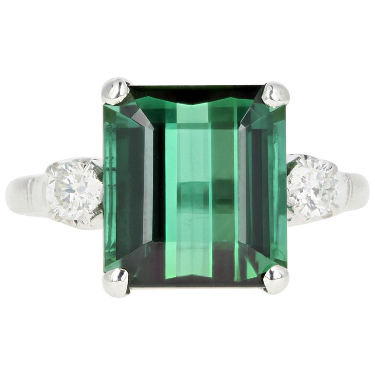 Platinum 6.35 Carat Green Tourmaline and Diamond Ring