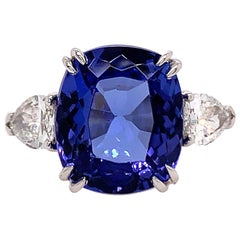 GIA Certified 6.42 Carat Natural Tanzanite and Pear Diamond Engagement Plat Ring