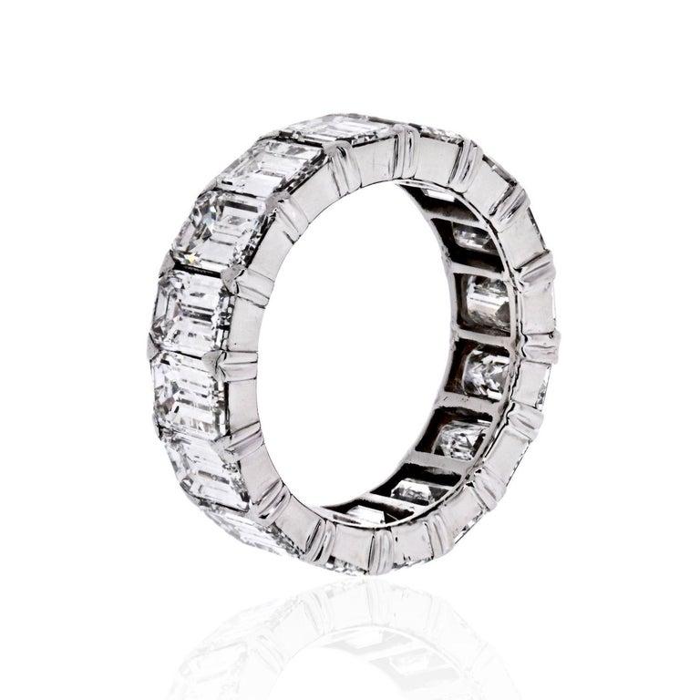 Modern Platinum 6.50 Carat Emerald Cut Diamond Eternity Band