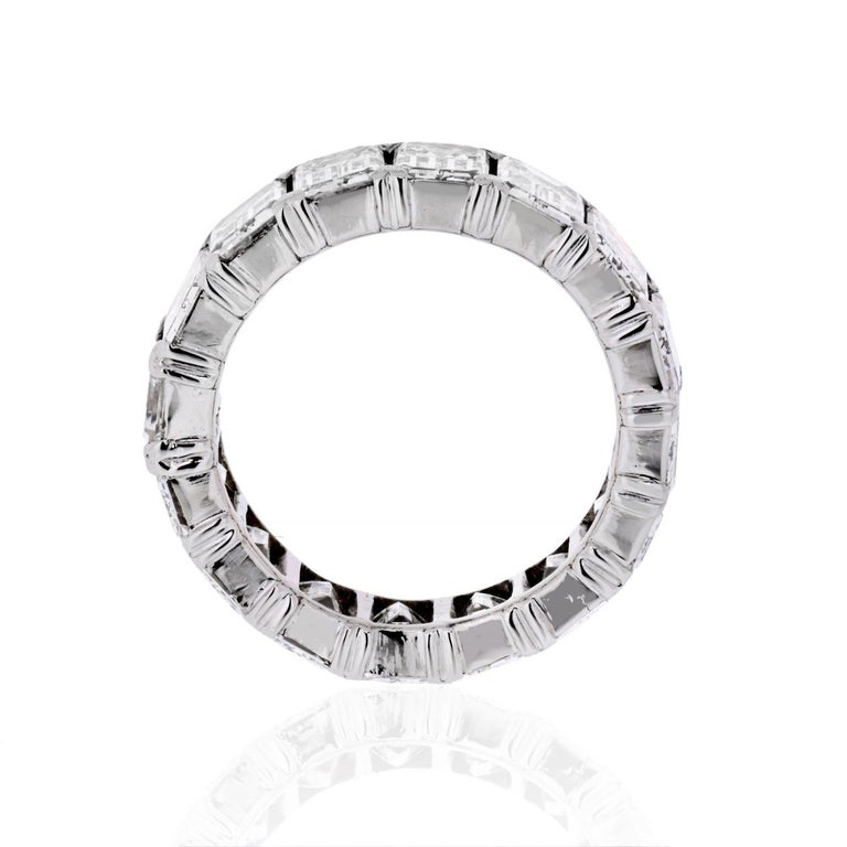 Platinum 6.50 Carat Emerald Cut Diamond Eternity Band In Good Condition In New York, NY